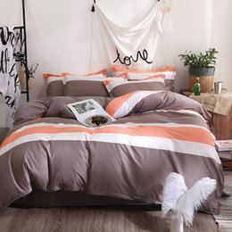 modern european style beds NZ - 2019 Nordic modern printing sanding AB version aloe cotton small fresh 4 sets of environmentally friendly comfortable bedding 4 sets