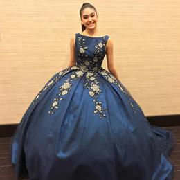 Green formal dresses for juniors online shopping - Gold Appliques Dark Blue Quinceanera Dresses For Juniors Sweet Vestidos de Anos Ball Gown Prom Evening Dresses Formal Wears