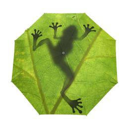 $enCountryForm.capitalKeyWord UK - 2019 New Creative Frog Children Umbrella Three Folding Green Umbrella Rain Women Sunscreen Anti Uv Brand Umbrellas T8190619