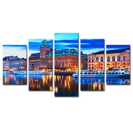 China Canvas Prints Wall Art 5 Pieces European City Scenery Painting Landscape Picture Print Artworks for Living Room Decoration Unframed suppliers