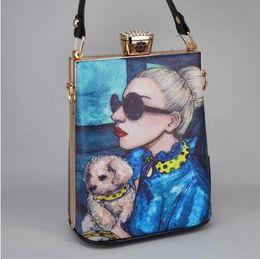Painting Faces Australia - Fashion Cartoon Characters face Painting Bag PU Women Bag Party Handbags LadY Crossbody Bag Evening Clutch Purse