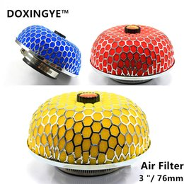 Wholesale RED Yellow Blue quot MUSHROOM STYLE HIGH FLOW INLET INTAKE AIR FILTER MICROFOAM FOR Universal