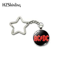 $enCountryForm.capitalKeyWord Australia - New Trendy Classical POP Band Star Key Chain Handmade Glass Dome ACDC Bag Car Key Ring Bohemia Jewelry Art Photo Keychain