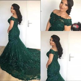 $enCountryForm.capitalKeyWord Australia - 2019 African Dark Green Mermaid Evening Dresses Off the Shoulder Lace Sequins Corset Back Long Prom Celebrity Gowns