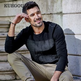 plain black long sleeve t shirts UK - KUEGOU 2020 Spring Patchwork Cotton Linen Plain Black T Shirt Men Tshirt Brand T-shirt Long Sleeve Tee Shirt Plus Size Tops 735 Y200409