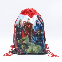 $enCountryForm.capitalKeyWord UK - Kids Cartoon Print Designer Pouch The Avengers Alliance Child Double-side School Backpack Non-woven Drawstring Bags Boys Girls Gifts C81904