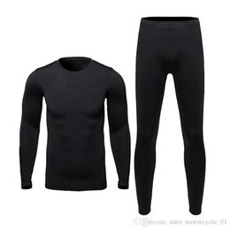Wholesale ski fleece tops resale online – Men Motorcycle Fleece Thermal Outdoor Sport Underwear Skiing Motocross Winter Warm Base Layers Tight Long Johns Tops Pants Set