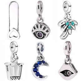 lip pendants Australia - My Moon Eye Palm Tree Crown Lips Pendant Charm Me Safety Pin Brooch Fit Pandora Bracelet 925 Sterling Silver Beads DIY Jewelry