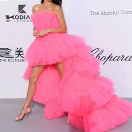 clothes puffy Australia - Pretty 2019 fashion Fuchsia High Low Tiered Tutu Prom Gowns Off The Shoulder Puffy Tulle Formal Party Clothing