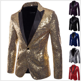 Colors tuxedo online shopping - New Arrival European and American Performance Suits Blazers With Sequins Peaked Lapel Six Colors Suits Jackets For Sale