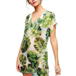 $enCountryForm.capitalKeyWord Australia - Womens Summer Chiffon Asymmetric Swimsuit Cover Up Deep V-Neck Boho Tropical Leaves Printed Mini Dress Short Sleeves Loose Pullo