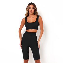 ladies gym suit Canada - Square Collar Sleeveless Backless Skinny Tank With Pants Sport Suit Women Gym Fitness Running Clothes Ladies Workout Sportswear
