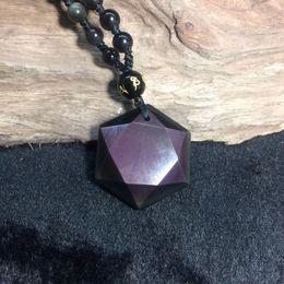 $enCountryForm.capitalKeyWord Australia - Obsidian Stone Pendants Six Angle Pendant Energy Stone Necklace Sweater Chain Fashion Jewelry