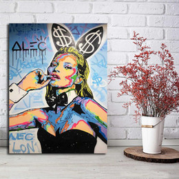 Alec Monopoly Kate Moss Graffiti Art Home Decor pintado à mão HD Pinturas Imprimir óleo sobre tela Wall Art Pictures 200517