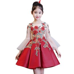 Tutu Sizes For Kids Australia - Kids Girls Flower Girl Dresses for Children Wedding First Communion Dresses Formal Party Prom Dress Plus Size