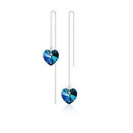 $enCountryForm.capitalKeyWord UK - Korean Style 925 Sterling Silver Earring Heart Of Ocean Blue Crystal Love Tassel Drop Earring Jewelry For Hot Sale Long Dangle Line Earring