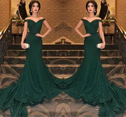 reflective straps Canada - 2019 Sparkle Sequined Dark Green Reflective Prom Evening Dresses Sexy Mermaid Off Shoulders Long Vestidos de fiesta