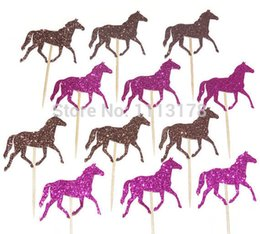 $enCountryForm.capitalKeyWord Australia - Horse Cupcake Toppers - Pink and Brown Glitter - Kids Birthday Party Decoration wedding birthday toothpicks decorations Party Supplies Event