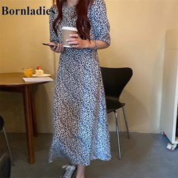 control dress Australia - Bornladies Leopard Waist-Controlled Hot Chic 2020 All Match Short Sleeve Summer Gentle A-Line Vintage Hot Long Dresses Vestidos