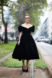 white velvet tea length dress Australia - 2019 Black Velvet Evening Dress Pretty Off-shoulder Tea Length Formal Special Occasion Dress Prom Party Gown Plus Size vestidos de festa