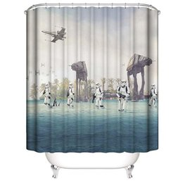 hooks for shower curtain Canada - Fantasy Space fighter Warplane 3D Digital Printing Printed Waterproof Bathroom Window Shower Curtains With Rings Hooks Gift for Kids