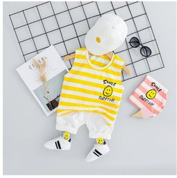 $enCountryForm.capitalKeyWord Australia - New two-piece boy's striped smiling face Vest + casual trousers suit for the summer of 2019 children Clothing Sets