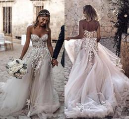 $enCountryForm.capitalKeyWord Australia - 2019 Cheap Plus Size boho Country Style with 3D Floral Appliques A-Line Wedding Dresses Bohemian Bridal Gowns for Brides robe de mariée