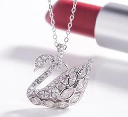$enCountryForm.capitalKeyWord Australia - 10pcs lot New design creative jewelry 925 pure silver Women's swan shape necklace free shipping necklace