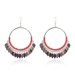 $enCountryForm.capitalKeyWord UK - Europe and the United States Hot Handmade Jewelry Geometric Diamond Metal Tassel Retro Big Earrings Earrings Female