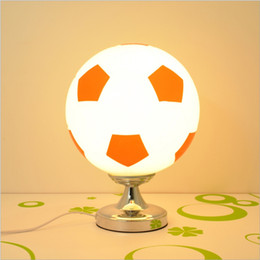 Discount football bedding Football Table Lamp Modern Glass Lampshade with Metal Base Creative Soccer Bedroom Bedside Lamp for Kids Room Living Room
