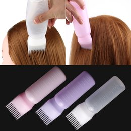 bottle shampoo UK - 170ml Plastic Hair Dye Shampoo Bottle Applicator with Graduated Brush Dispensing Kit Salon Hair Coloring Dyeing Styling Tools