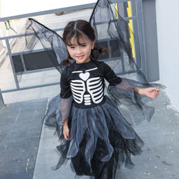 Wholesale cos clothes resale online - Girl Skeleton Vampire Skirts Halloween Wing Vampire cos Costume Skirts skirt wing set girl princess dress skull dress kids clothes M189