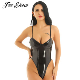 latex thong NZ - Hot Erotic Women Latex Catsuit Sexy Clubwear Nightwear Wetlook High Cut Thong Leotard Latex Lingerie Bodysuit Leather Costumes MX200402