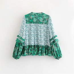 bohemian print blouse UK - 2018 Europe And America Summer New Style WOMEN'S Dress Bohemian Green Leaves Print Shirt Flounced Button down Blouse