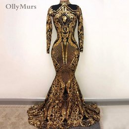 $enCountryForm.capitalKeyWord Australia - Vintage Long Prom Dresses 2019 Sexy High Neck Mermaid Long Sleeve Gold Sequin Sparkly Evening Wear Gowns African Black Girl Prom Dress Party