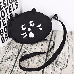 $enCountryForm.capitalKeyWord Australia - Oval Round Canvas Bag For Women Cloth Cartoon Small Round Crossbody Bag For Girl New Cute Cat Dog Female Party Handbag