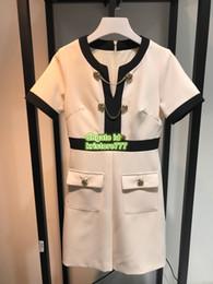 Short White Dresses Rhinestones Australia - Female Short Dress With Chain Belt Crew Neck The Top Qulaity Above Knee Mini Rhinestone Button Dresses S-M-L-XL