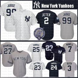 Nova Iorque 99 Aaron Juiz Yankees Camisola De Basebol 27 Giancarlo Stanton 25 Torres 23 Dom Mattingly 24 Gary Sanchez 3 Babe Ruth 7 Manto Jeter