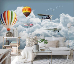 Discount balloon printing custom size 3d photo wallpaper living room bed room mural white cloud airplane balloon picture TV backdrop wallpaper non-woven wall sticker