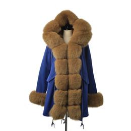 $enCountryForm.capitalKeyWord Australia - FURSARCAR Fashion Jacket Real Fur Parka Women Luxury Winter 80 CM Blue Coat With Fox Fur Collar And Cuff Casual Warm Parka