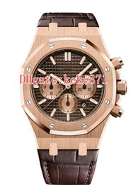 mens rose gold chronograph UK - 12 Style Topselling 41mm Offshore 26331 26331ST 26331OR.OO.D315CR.01 18k Rose Gold Leather Bands VK Quartz Chronograph Mens Watch Watches