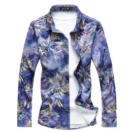Casual Men S Shirts Flowers Australia - Men Long Sleeve Shirt Asia Size S - 7XL Fashion Casual Flower Shirt Men High Quality Wedding Banquet Mens Shirts