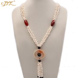 "big choker pearl necklace 2020 - JYX 618 BIG SALE!Classic Design RED BLACK AGATE necklace with pearls chain 5.5*7-mm elegant 30"" gift cheap big chok"