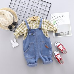 $enCountryForm.capitalKeyWord Australia - Baby Clothes Infant Shirt Sets for Toddler Girl Boy Set Toddler Autumn Outfits Plaid Top Shirt + Denim Overalls Clothes Set 4T