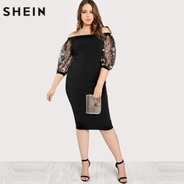 e60beb6d46 SHEIN Black Plus Size Party Summer Dress Off the Shoulder Bardot Pencil  Dress Embroidered Mesh Sleeve Large Sizes Sexy