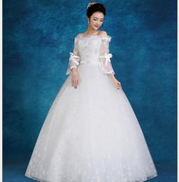 fat size wedding dresses 2019 - Wedding dress new fashion lace word shoulder sleeves large size fat bride wedding dress cheap fat size wedding dresses