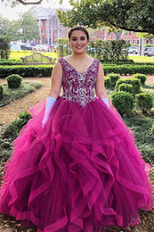 sexy plus size tutus Australia - Plus Size Ball Gowns Quinceanera Dresses V Neck Beads Sequins Ruffles Tutu Prom Dresses Teens Swwt 16 Graduation Dresses Back Prom Gowns