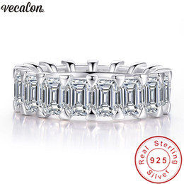 Discount emerald cut wedding set - Vecalon Eternity Band Promise Ring 925 sterling silver Emerald cut Diamond Cz Wedding band rings for women Men Fine Jewe