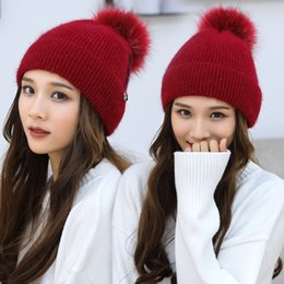 88e431381e6 Hat Female Autumn and Winter New Fashion Korean Knitted Wool Cap Rabbit Hair  Blended Youth Travel Leisure