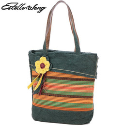 $enCountryForm.capitalKeyWord Australia - Estelle Wang Casual Tote Linen Shoulder Bags Cotton National Women Floral Zipper Cloth Bag Large Capacity Flower Weaving Handbag